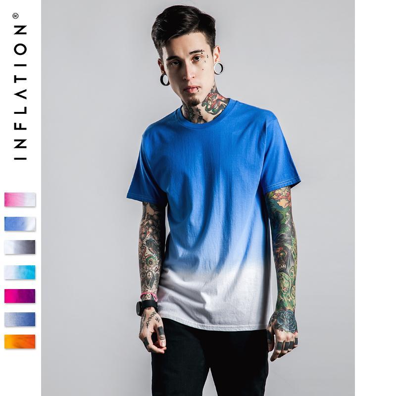 Инфляция Tee мужская забавная хип-хоп Dip Dye хлопок O-образным вырезом с коротким рукавом футболка летняя одежда для мужской одежды размер S-XXXL