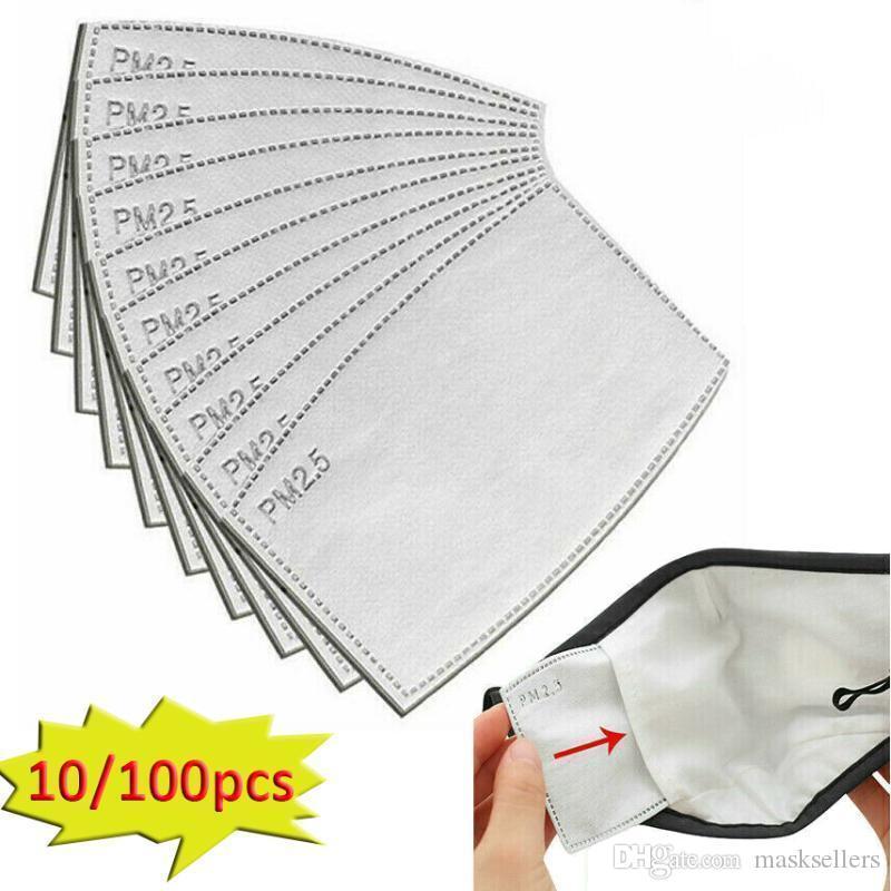 5 capas de filtro de carbón activado no tejido máscaras Junta 10 piezas PM2.5 filtro para máscara facial Anti Haze máscara de boca reemplazable filtro-rebanada