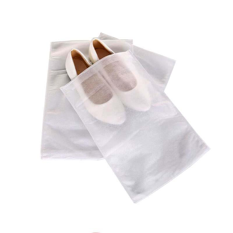 A Non-woven Fabric Shoes Drawstring Bag White 5 sizes Dustproof Shoes Cover Storage Bag With Rope Reusable Bag