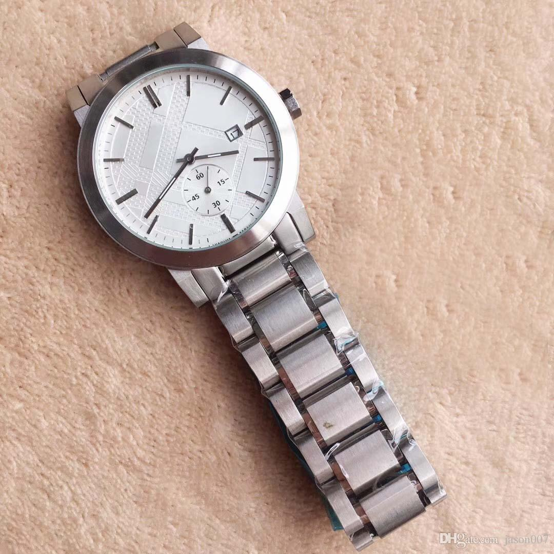 Orologio da uomo di moda libero 42 millimetri cronografo al quarzo stile britannico Data Orologi da uomo Orologi Bracciale in acciaio inossidabile argento quadrante bianco