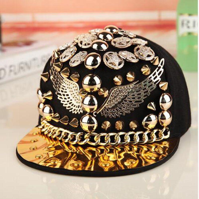 high quality Bigbang personality jazz hat snapback cap Men/ Women Spike Studs Rivet Cap Hat Punk style Rock Hip hop cap Pick