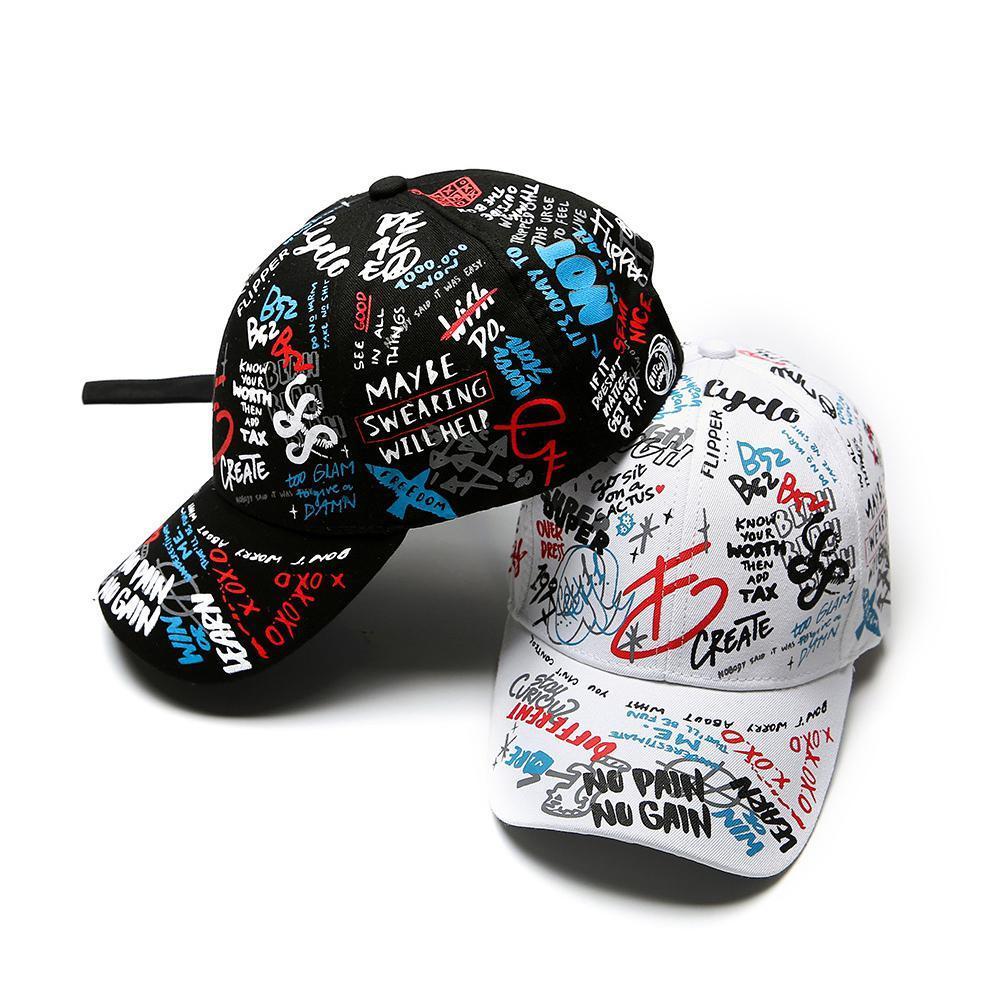 2020 Yeni Unisex tasarımcı kapakları Kadın Erkek Şapka Ayarlanabilir Siyah Beyaz Renkli Baskı Graffiti Tüm eşleştirme Beyzbol şapkası İçin Erkek Kadın
