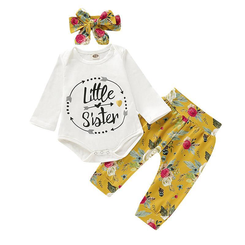Bebé recién nacido floral infantil del juego de las muchachas de la historieta Carta volante cabritos de los sistemas casuales ropa de niñas impresos equipos ocasionales con la venda del sombrero 06