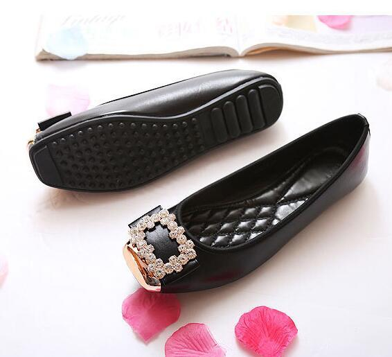 Women Rhinestone Square Toes Single Shoes Girls Ballet Flat Loafers Shoes Doug Shoes Womens Pumps Big Size