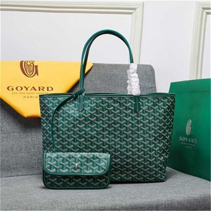 Goyarrd الساخن الأكثر مبيعا عالية الجودة الموضة في باريس جلد طبيعي غوي سانت لو مساء الخضراء المغلفة المتوسطة قماش حمل حقائب اليد