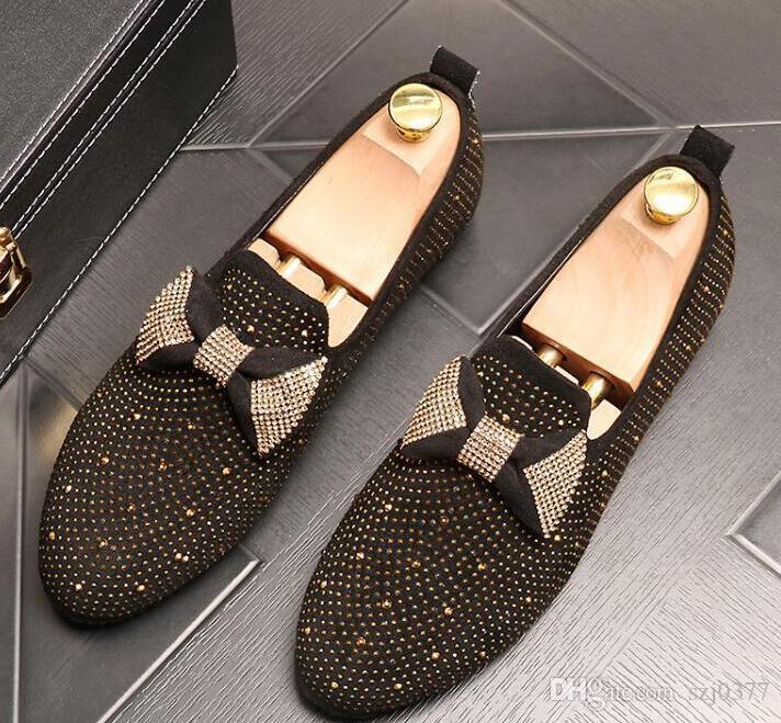 Designer Herren Bowtie Diamanten Faulenzer Wohnungen Party Hochzeit Prom Schuhe atmungsaktiv Slip-On Male Heimkehr Schuhe hohe Qualität