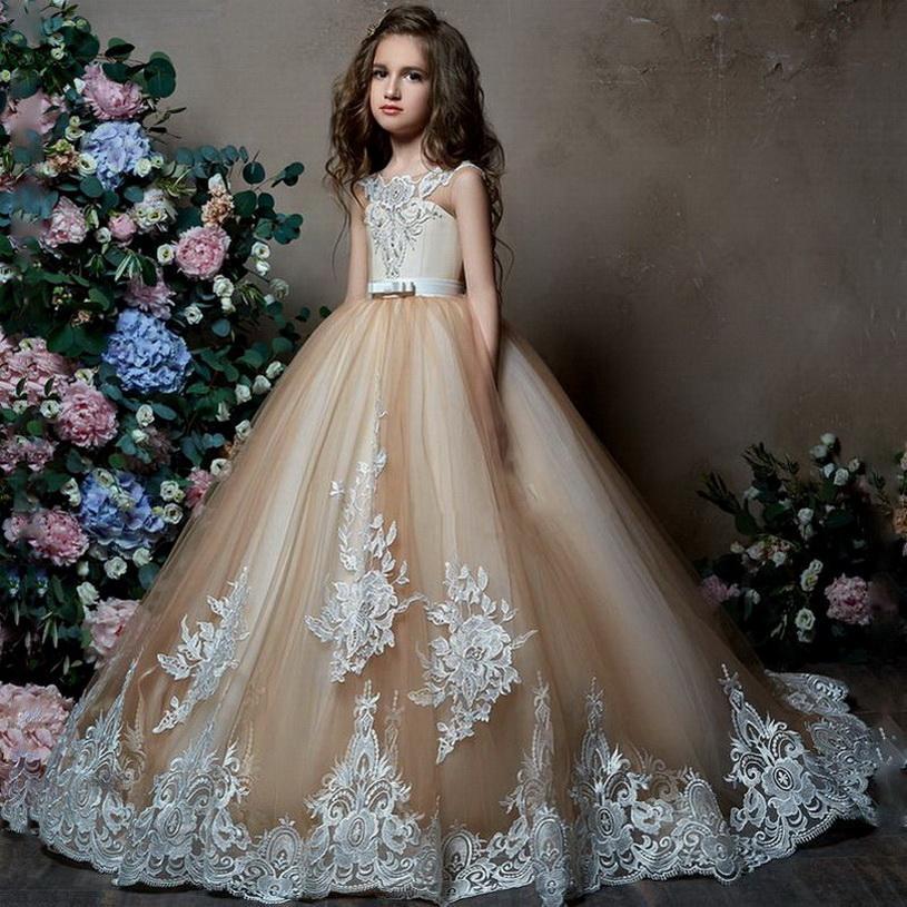 2020 New Girl bonito Vestidos para casamentos vestido de baile de tule apliques de renda frisado longa Primeira Comunhão Vestidos Little Girl