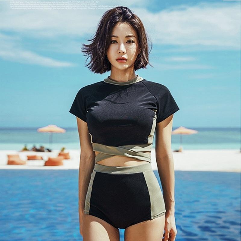 2019 traje de baño partido del bikini traje de baño de las correas de cuello redondo mujeres que cosen bikini atractivo conservadora delgada