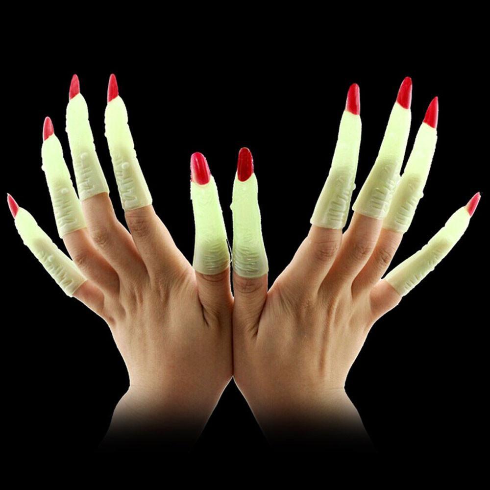 New llegaron Suministros dedo de Halloween del zombi del partido del traje de la bruja Puntales luminoso uñas postizas de Conjuntos Disfraces de Horror de la venta caliente