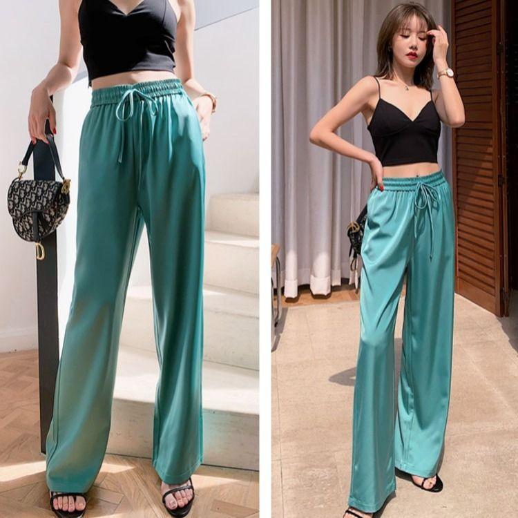 Mujeres 2020 de verano Cintura alta gasa pantalones anchos femeninos nueva moda casual damas traje pantalones sólidos pantalones pantalones l214