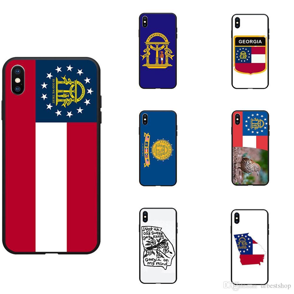 US USA Flag Of Georgia GA Map Logo Theme Soft TPU Phone Cases Cover Image Logo For iPhone 6 7 8 S XR X Plus