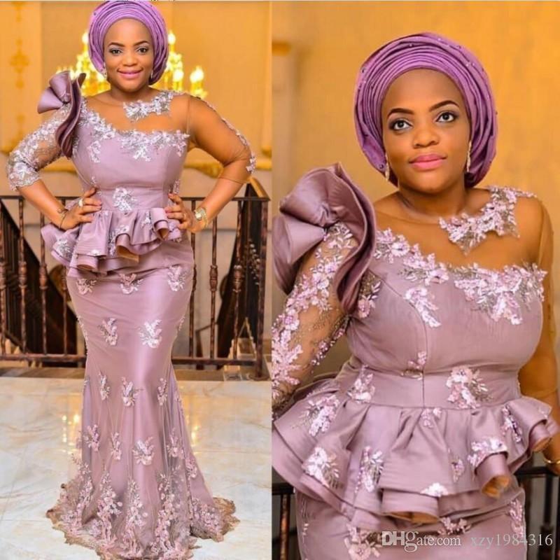 Стиль ASO EBI Мать свадебных платьев Иллюзия Одно плечо половина рукава Кружевные аппликации Африканские вечерние платья длина домов