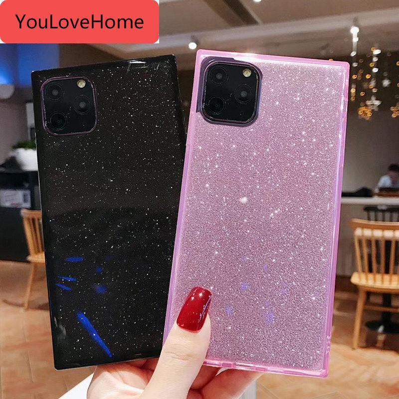 Platz Stoß- Telefon-Kasten für Iphone 7 8 6 6s Plus-11 Pro X Xr Xs Max Bling Glitter Papier Süßigkeit weicher TPU rückseitige Abdeckung