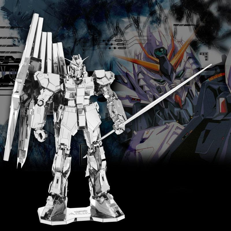 3D DIY metal Mech Warrior Modelo Montar Brinquedos para Gundam RX-93 Aço inoxidável prata Stereoscopic metal Jigsaw Puzzle Fãs Toy Y200413
