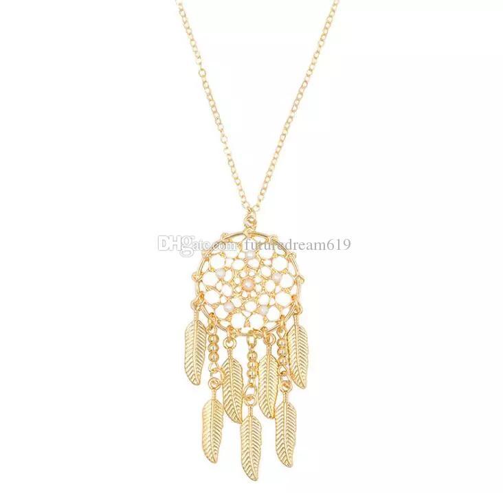 Mode Dreamcatcher Halskette Neue Persönlichkeit Geometrie Aushöhlen Saussurea Blatt Halskette Lange Pullover Kette das beste Geschenk für Frauen