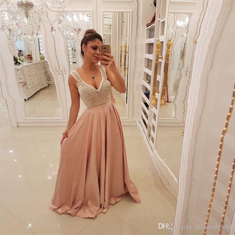 Sexy V Neck Light Pink Prom Dresses 2019 Pearls Long Formal Evening Dress  Plus Size Party Dress Custom Made Dark Blue Prom Dresses Dress For Prom  From