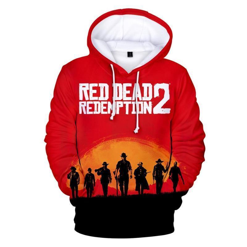 이 개 어린이 디자이너 의류 소년 남성 여성 캐주얼 3D 후드 스웨터 RED DEAD 상환