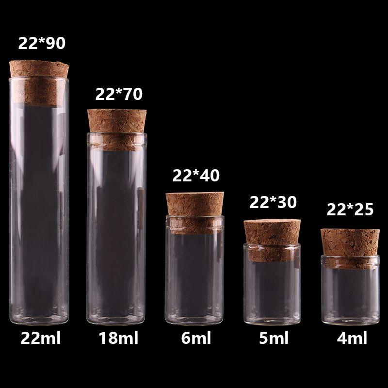 4 ml / 5 ml / 6 ml / 18 ml / 22 ml tubo de ensayo pequeño con botellas de tapón de corcho tarros Viales 100piezas bricolaje