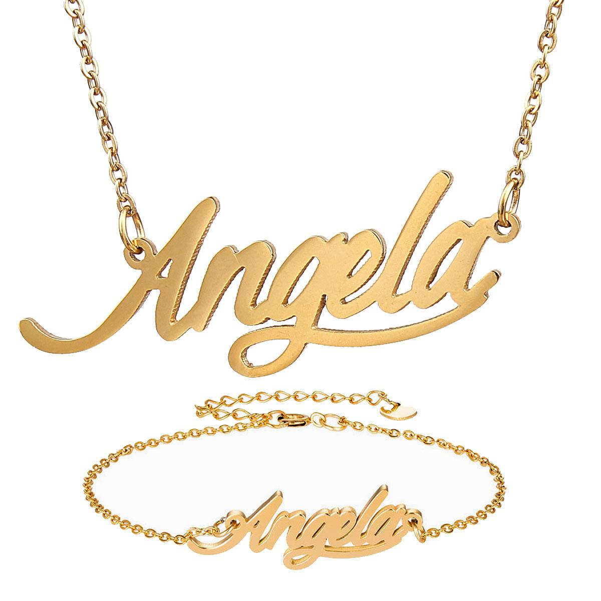"""Fashion Jewelry Stainless Steel Name Necklace + Bracelet Set """" Angela """" Script Letter Gold Choker Chain Necklace Pendant Nameplate Gift"""