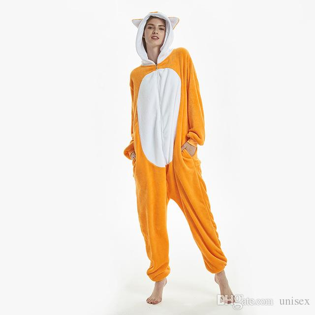 Kawaii Fox Kigurumi Onesie Animal Cartoon Sleepwear Pajama Orange White Soft Onepiece Adult Women Winter Suit Festival Outfit