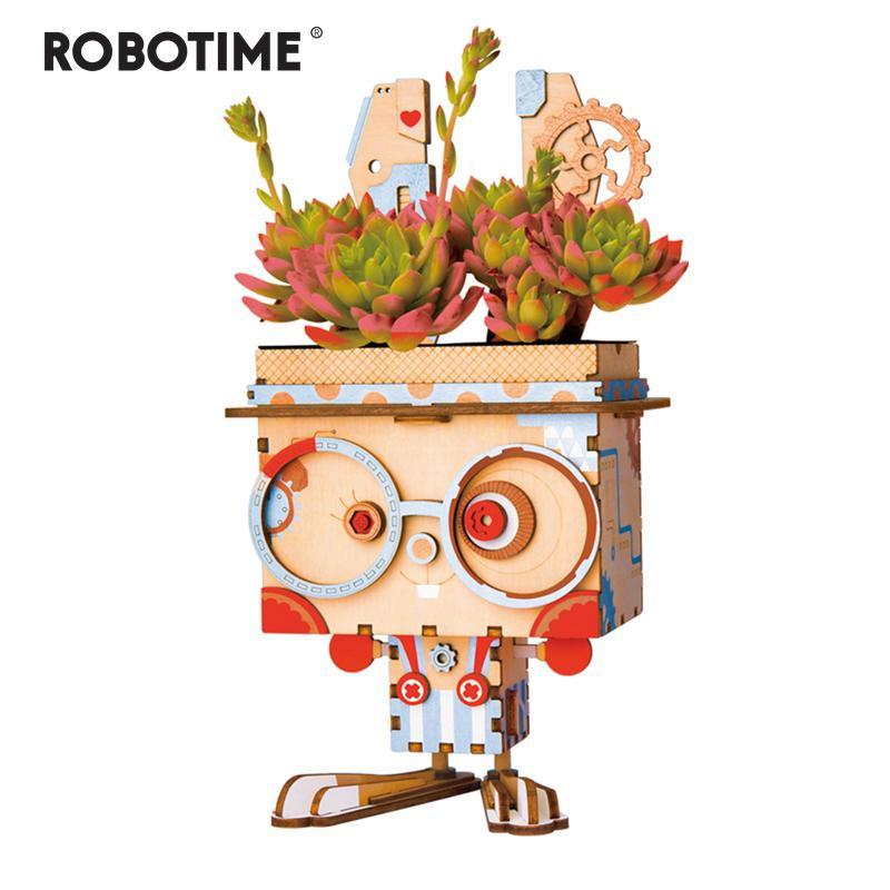 Robotime Children Adult Cute Bunny Flower Pot 3D Wooden Puzzle Game Educational Models & Building Kits Toy FT741 Y200413