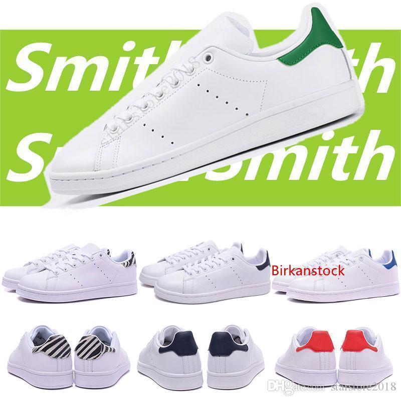 Zapatos de la venta caliente de diseño Smith Hombres Mujeres Stan Zapatos Negro Blanco Rojo Azul Rosa Silver Smith las zapatillas de deporte ocasionales del tamaño 36-45 de Leathe