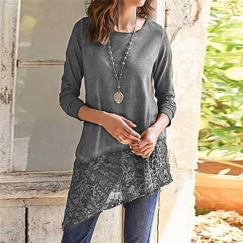 Gömlek Casual Bayan Giyim Kadın Tasarımcısı uzun kollu tişörtleri Scoop Boyun Saf Renk Giysiler Moda Dantel Kasetli