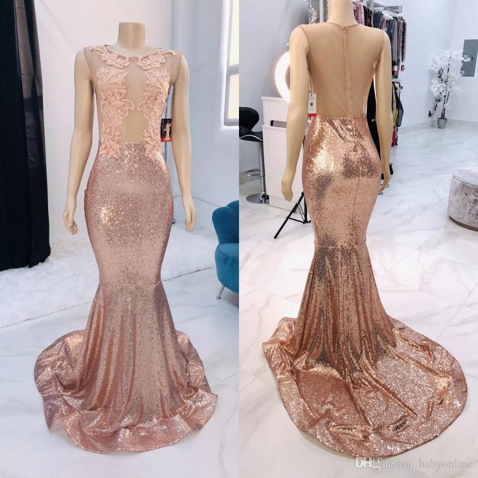 2020 Rose Keyhole cou sirène pailletée robes de bal Custom Made Robes de soirée longue Robes de appliques festa Black Girls Pink Party