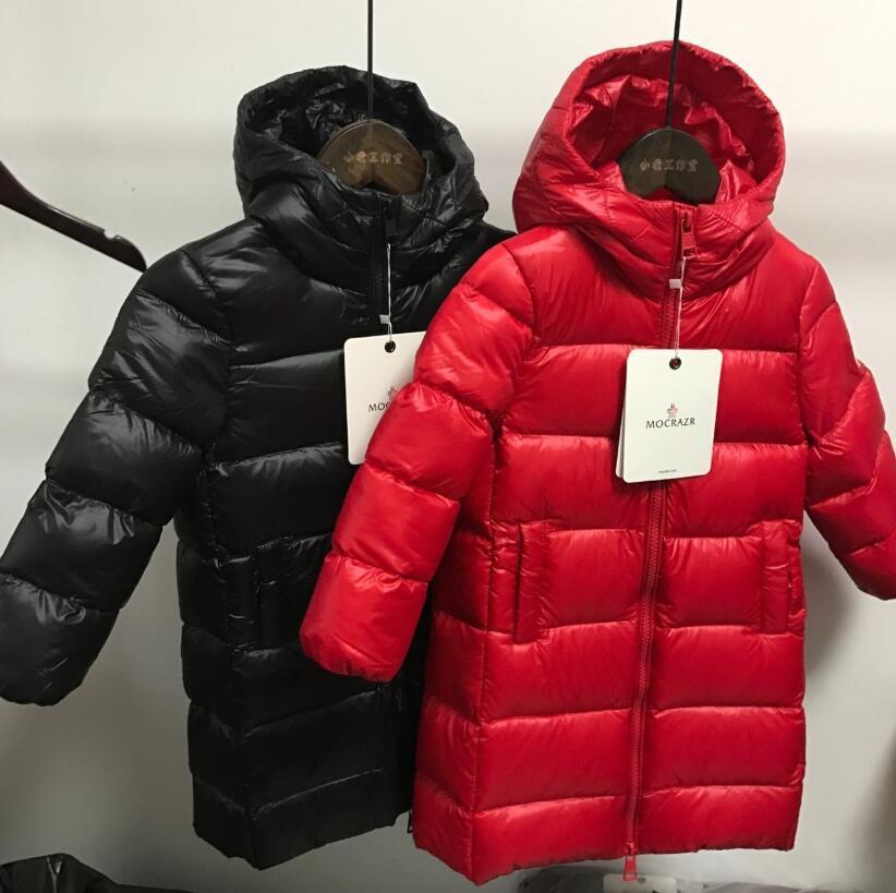 다운 재킷 겨울 브랜드 소년 소녀 레드 블랙 따뜻한 후드 롱 코트 아기 청소년 아동이 두꺼워 착실히 보내다 의류 오리 키즈