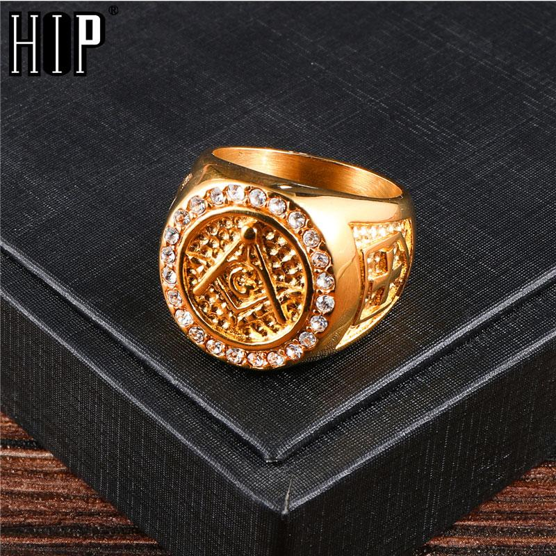 Hip Hop Bling Iced Out Männer Masonic Ringe Edelstahl-Mikro pflastern Rhinestone-Ringe für Männer Schmuck Goldfarben Drop