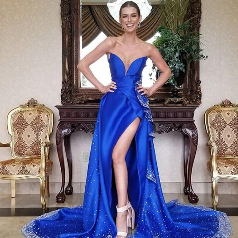 Royal Blue Long Prom Dress 2020 Sparkly Sequins Beaded Split Pageant Paty Gowns Sweep Train Mermaid Formal Evening Dresses