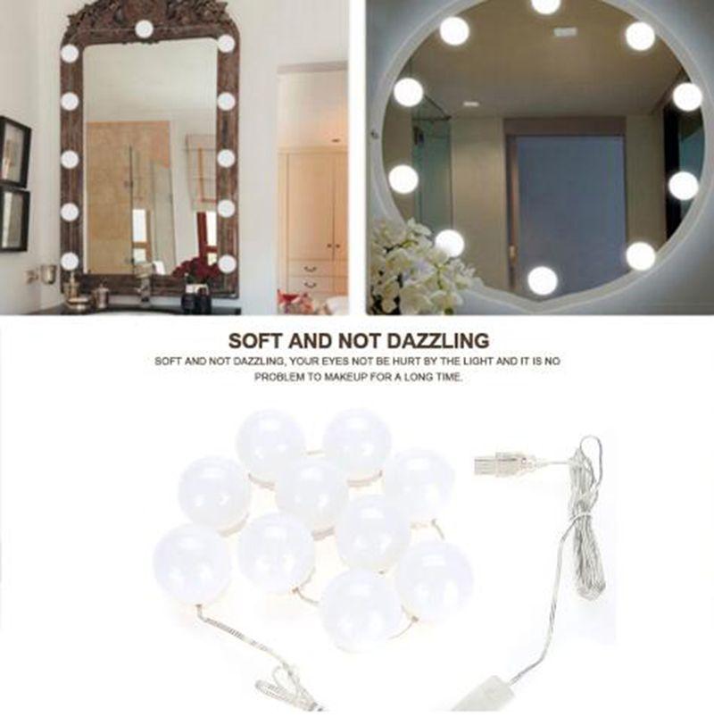 Новый Голливуд Стиль тщеславие зеркало для макияжа Светодиодные лампы лампы Kit Освещенные Составляют Зеркала косметические огни