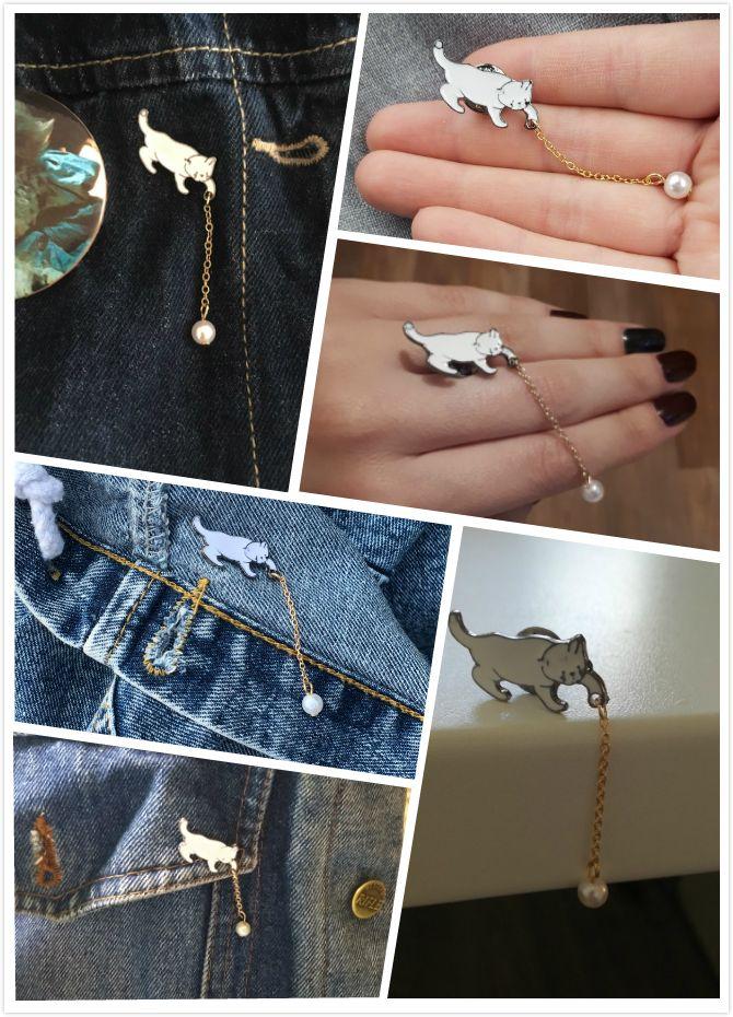 Cute White Imitation Pearl Cat Brooch Pins Chic Fashion Jewellery