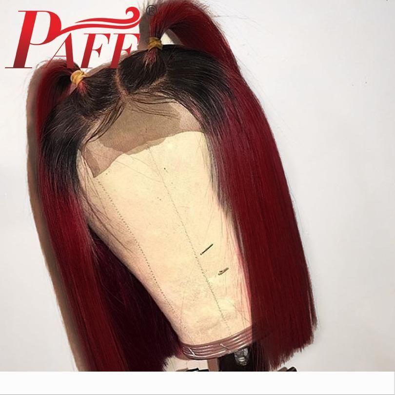 PAFF Glueless pleine dentelle perruques de cheveux humains pour les femmes Bourgogne Rouge Pré cueilli Remy Soie droit brésilien des cheveux avec des cheveux de bébé