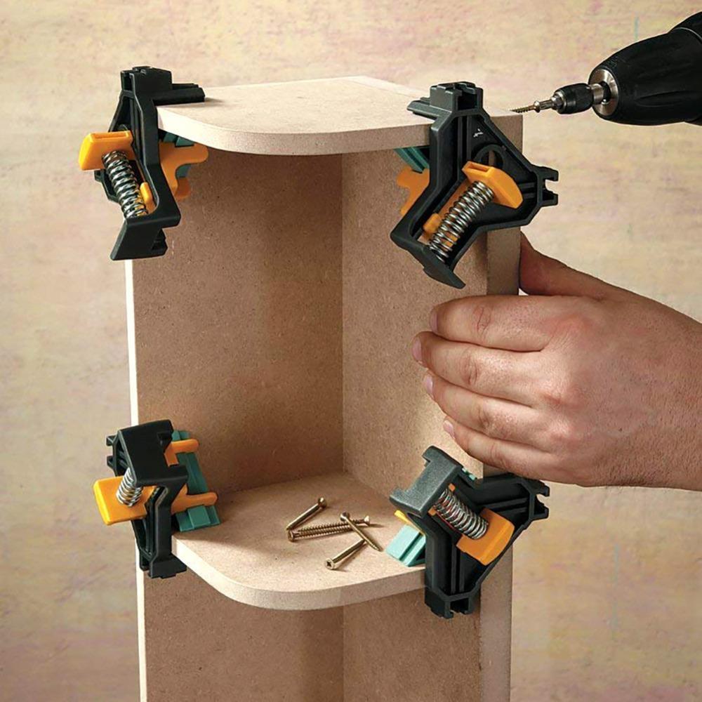 4 개 / 세트 90 개도 직각 클램프 고정 클립 액자 코너 클램프 목공 손 도구 가구 수복 사진 강화