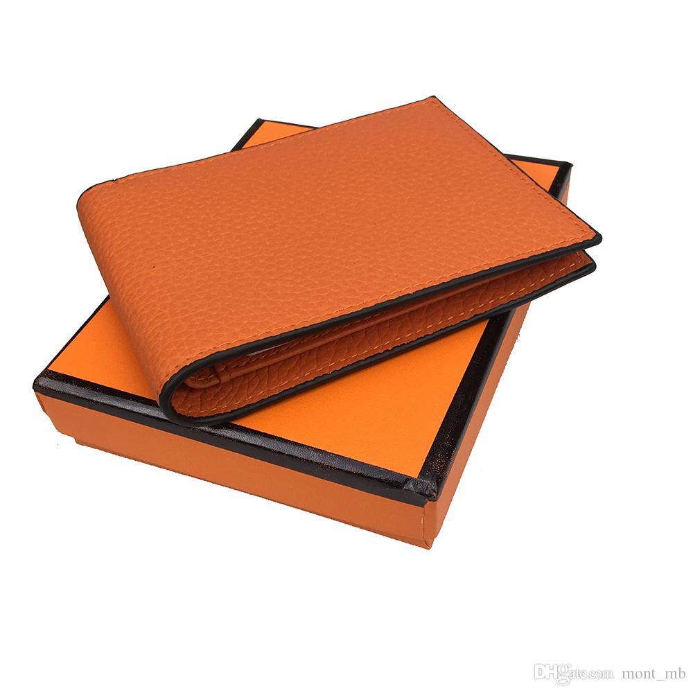 Cartera de lujo para hombres recién llegados 8 colores diseñador clásico artesanía 100% cuero estilo europeo titular de la tarjeta de crédito billetera caja de envío gratis
