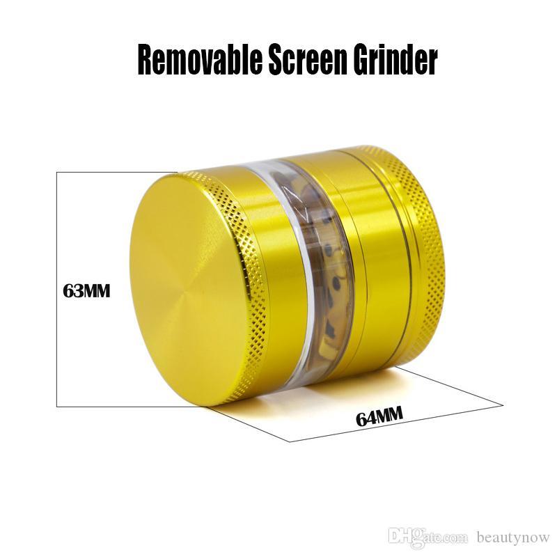 Çıkarılabilir Ekran Öğütücü Bitkisel Öğütücü Metal Kırıcılar 63MM 4 Katmanlar Alüminyum Alaşım Çıkarılabilir Şeffaf Pencere Taşlama Duman