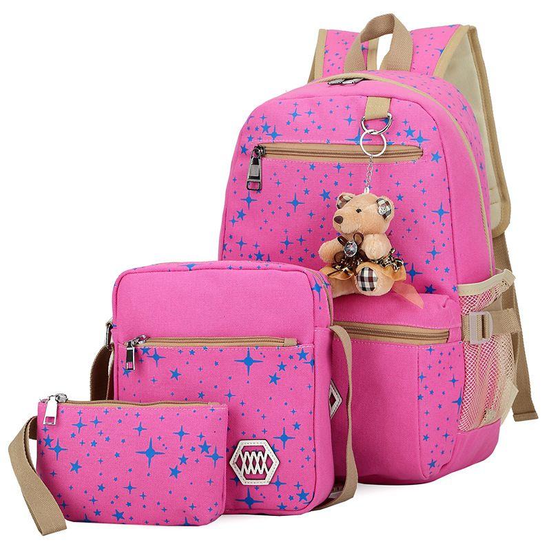 3pcs/set Composite Bag Preppy style Backpack Fashion For Teenage Girl Canvas School Bags Cute Bear 3 Set Backpack Female shoulder mochila