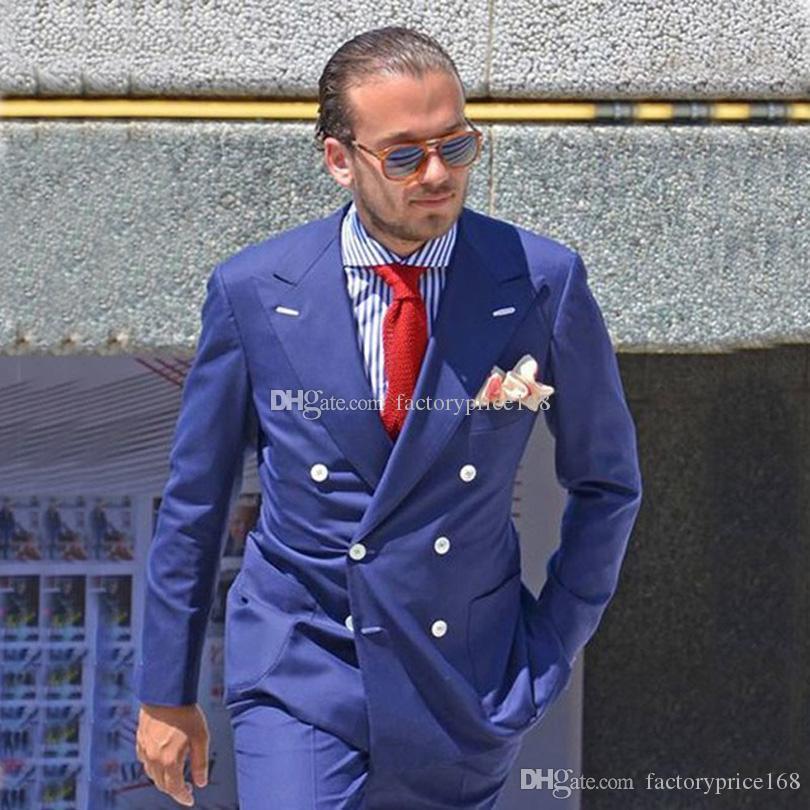 Popular Azul marinho Groomsmen trespassado (jaqueta + calça + gravata) Suits Noivo Smoking Groomsmen Best Man Suit Mens casamento Noivo A219