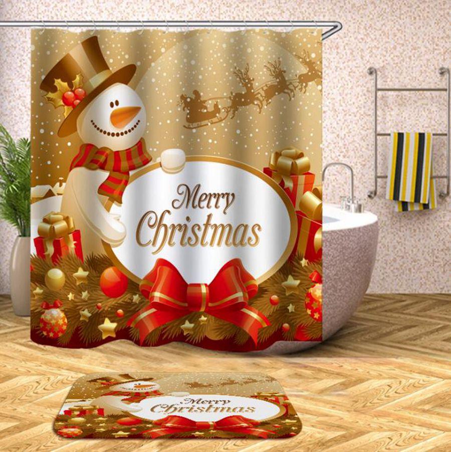 Рождество Душ Шторы 180 * 180см 20 Стили Санта-Клаус снеговика Xmas полиэфирные Водонепроницаемый ванной Занавески для душа OOA7312-3