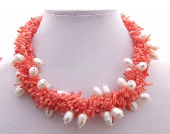 Jewelryr Pearl Necklace 4strands PearlCoral Necklace الحرة الشحن الحرة
