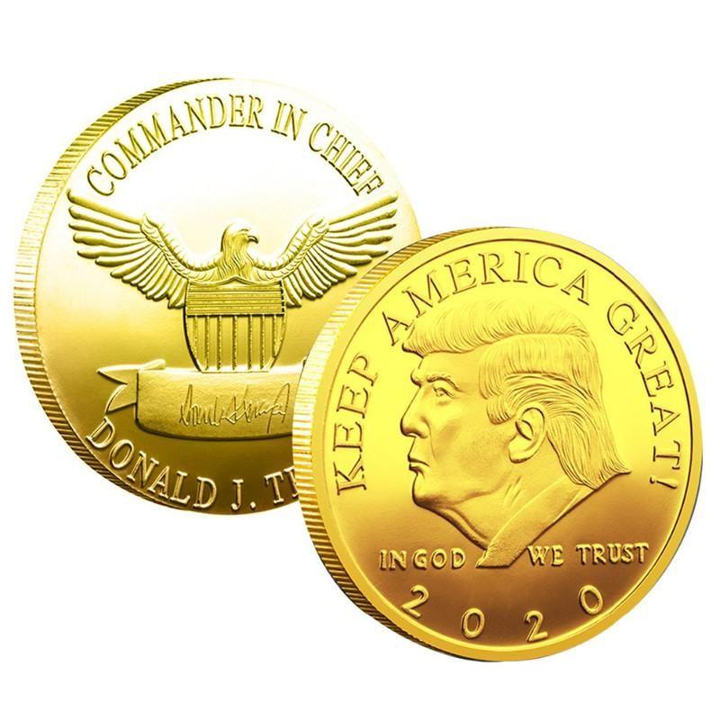 Donald J. Trump 2020 Keep America Gran Comandante Presidente de la moneda de oro en jefe Desafío conmemorativa Latina 45a de la moneda novedad