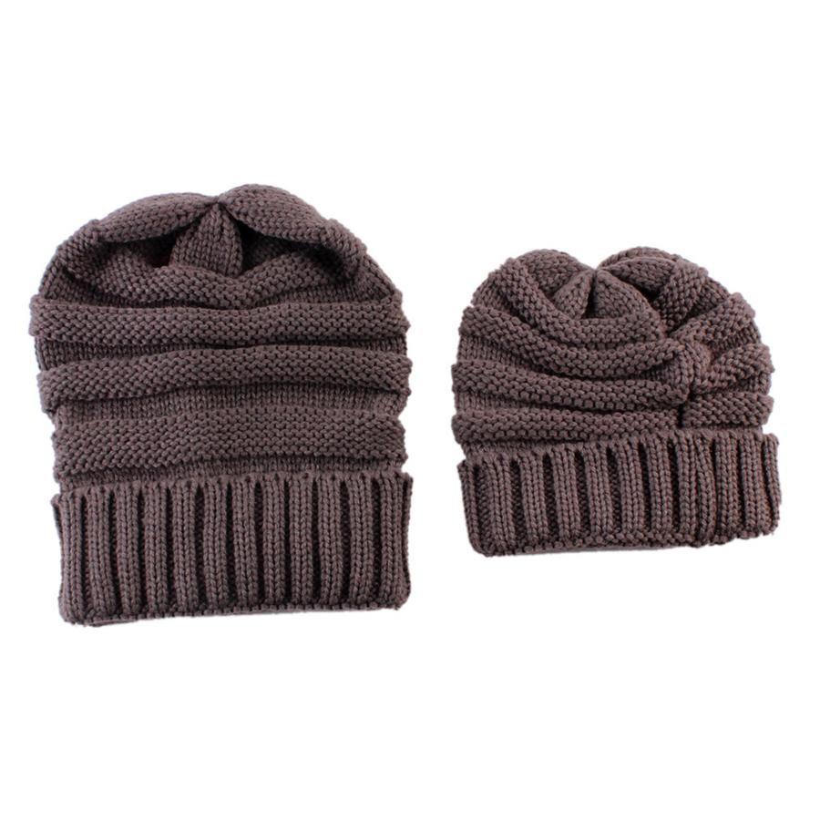 Parent-child Knitted Beanie Mother Kids Warm Winter Hat Crochet Soft Cap Outdoor Sports Ski Cap LJJO7437