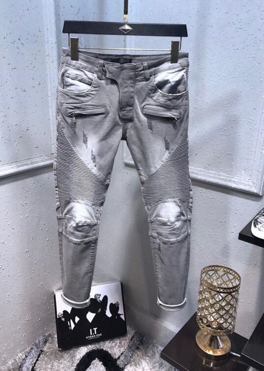 Mode gris Holes Hommes Jeans causales jeans skinny Motard Slim Mens Distressed Denim Ripped Rafraîchissez Pantalons Jeans Hommes Designer