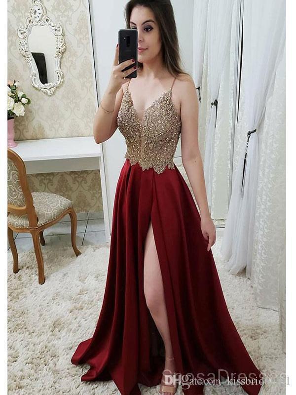 Compre Vestidos De Fiesta Largos En Rojo Oscuro Y Dorados Vestidos De Fiesta Largos Con Encaje Moldeado 2019 Con Partido Dividido En Cóctel Vestido De
