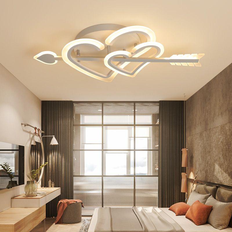 Cupid Tasarım Modern LED Avize LED Tavan Işık Oturma Odası Yatak Odası Için Düğün Odası Kız Odası Beyaz Renk Kısılabilir Avize
