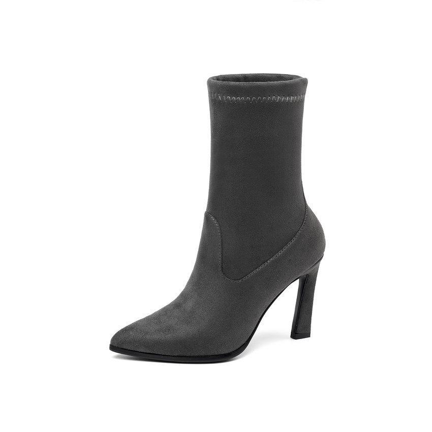 QUTAA 2020 Suede Apontado Toe Mulheres Ankle Leopard Moda Hoof High Heel Todos Jogo mulher baixa Shoes Fur Botas Tamanho 34-43 MX200324
