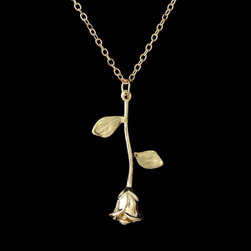 1 Pcs délicat Charm Collier Pendentif Fleur Rose Or Argent Beauté Bijoux Collier Rose pour les filles de femmes