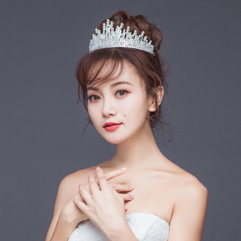 Trendy El Yapımı İnci Kristal Kraliçe Çelenkler Taçlar Gelin Düğün Saç Aksesuarları başlıkiçi Saç Takı Şapkalar İçin Kadınlar