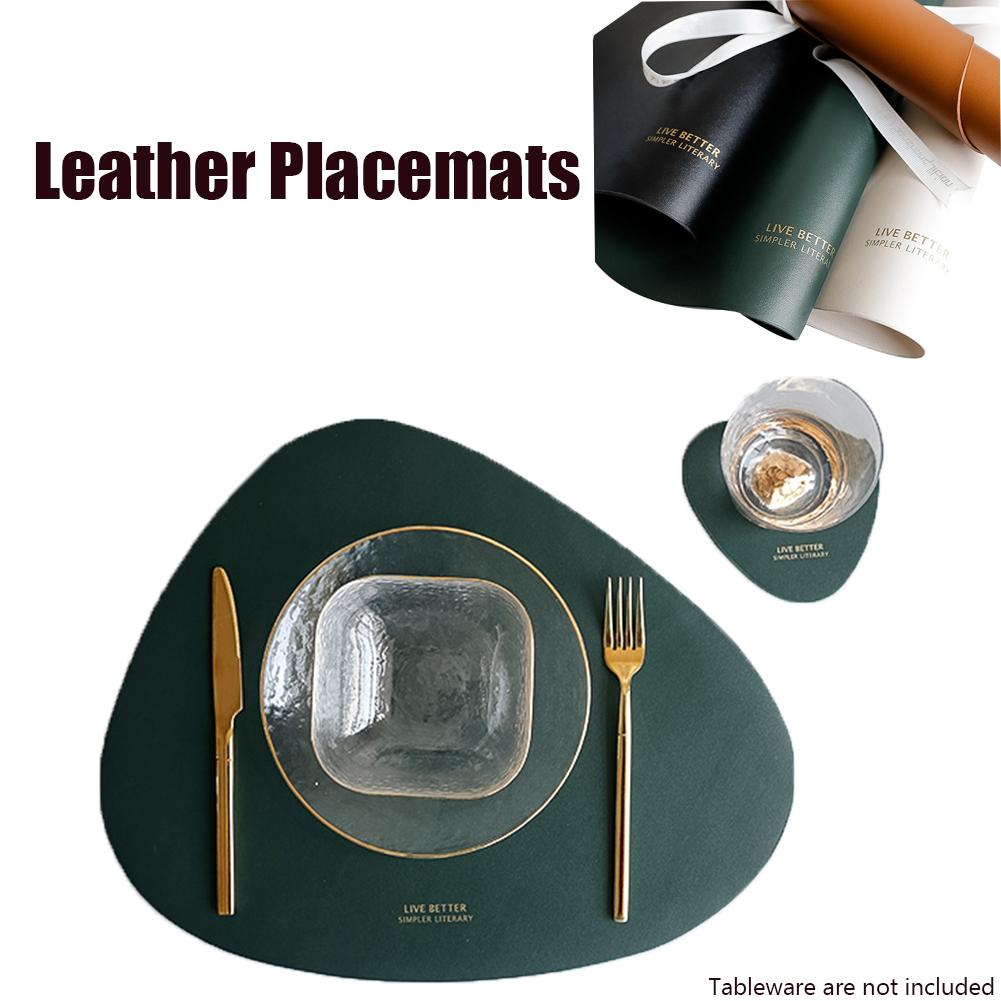 Round Non Slip Soft PU Placemats Placemats Dining Table Mats Tableware Pad LP